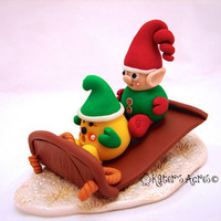Santa&#x27;s Elf Parker StoryBook Scene - Twelve Days of Christmas Polymer Clay Figurine