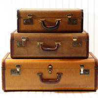 Vintage Stack of Suitcases / Vintage Suitcase /Vintage Luggage