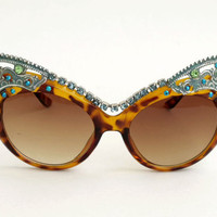 Vintage inspired LEOPARD verdigris rhinestones sunglasses... London design