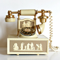 Vintage Old French Style Rotary Telephone. Ivory Grecian Cameo Motif.