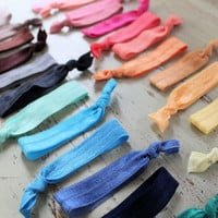 Elastic Hair Ties - pick 6 - ponytail holders - foldover elastic hair ties - knotted hair ties