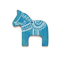 Holiday Ornament traditional Swedish Dala Horse wooden Christmas ornament turquoise blue and white hand painted  decor