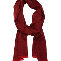 Men's Red & Black Scroll Jacquard Wool Mix Scarf