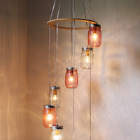 Pretty in Pink - Mason Jar Chandelier Hanging Light Fixture - Spiral Waterfall Rustic Mason Jar Wedding Lighting - BootsNGus Lamp Design