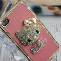 Amazon.com: Hello Kitty Luxury Pink leather Rhinestone Crystal Case Cover for iPhone 4 4S: Arts, Crafts & Sewing