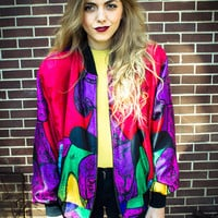 Vintage Picasso Multicolor Silk Oversized Track Jacket