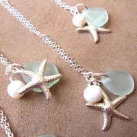 Starfish Neckalce with Seafoam Sea Glass & fresh water pearl - Perfect Necklace for Bridesmaids in Beach Wedding FREE SHIPPING