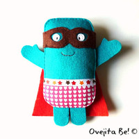 Blue superhero plush - Croquette Man, the fried rescuer