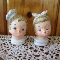 Rare 1950's Napco Kissing Girl and Boy Cooks Salt & Pepper Shakers