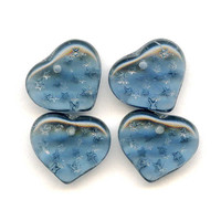 Montana Blue Heart Beads with Stars, Vintage Czech Glass (4)