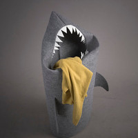 SHARK. Felt laundry basket for bathroom or children&#x27;s room as a basket for toys.