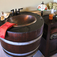 Bathroom Vanity Sink Made of 100% Wine Barrel