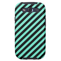 Mint Green And Oblique Black Stripes Patterns Galaxy S3 Covers from Zazzle.com