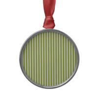 Acid Green And Vertical White Stripes Patterns Christmas Ornaments from Zazzle.com