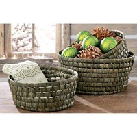 Tag Woven Maize Round Baskets - Set of 3 - Save 62%