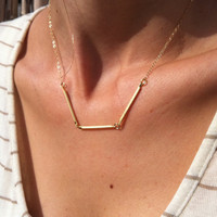 Gold Necklace - Gold Bar Necklace, Everyday Necklace, Simple Gold Necklace, Modern Geometric Gold Jewelry, Dainty Necklace