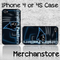 Carolina Panthers NFL Teamn Logo Custom iPhone 4 or 4S Case Cover