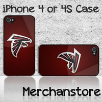 Atlanta Falcons NFL Team Logo Custom iPhone 4 or 4S Case Cover