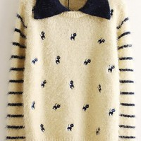 Cat Embroidery Striped Fluffy Sweater