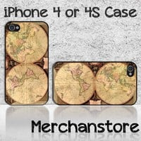 Vintage World Map Retro Unique Custom iPhone 4 or 4S Case Cover