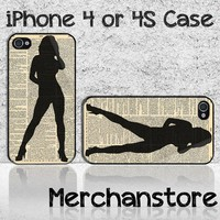 Sexy Girl Silhouette Custom iPhone 4 or 4S Case Cover