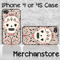 Sugar Skull Pattern Custom iPhone 4 or 4S Case Cover