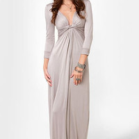 With a Twist Light Grey Maxi Dress