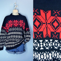 Vintage Ski Sweater / 70s Resort Snowflake Sweater