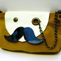 piiqshop - Market Place - Mr. Mustache with Monocle Suede Leather Cross Body Shoulder Bag Purse in Mustard Yellow with Cowhide Strap