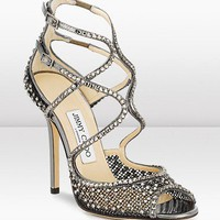 Jimmy Choo Anthracite Crystal Mesh Sandal - &amp;#36;206.00