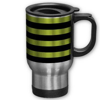 Acid Green And Horizontal Black Stripes Patterns Mugs from Zazzle.com