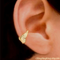 24K Gold Tiny Angel wing ear cuff earring jewelry -  non pierced earcuff for men and women 092612