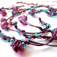 Knotted Necklace, Knotted Cord, Purple & Blue Beads, On Trend Long Boho Layer Necklace