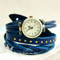 Classic elegant leather strap roma number dial quartz woman watch dark blue