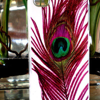 Peacock Purple Fuchsia Feather Iphone 4 Hard Case, Iphone 4s Case, Iphone Case