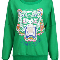 ROMWE | Tiger Head Letters Print Green Pullover, The Latest Street Fashion