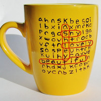 Personalized Word Search Ceramic Mug MMMug Yellow