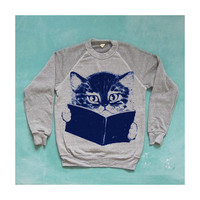 SALE / FURST EDITION sweater. cat sweatshirt. gray.