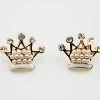 Rhinestone Pearl Crown Stud Earrings wholesale