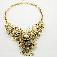 Retro Style Antique Brown Sunflower Bib Necklace wholesale