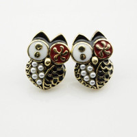 Lovely Black Pearl Owl Stud Earrings wholesale