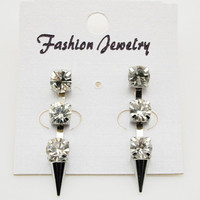 Silver Tone Rhinestone Spike Drop Earrings wholesale