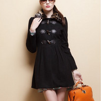Wool Coat Jacket for Women Winter Coat - black -Dress  9215