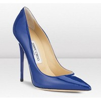 Jimmy Choo blue patent Anouk pumps