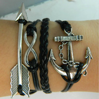 Bracelet - antique silver arrow bracelet, unlimited bracelet anchor bracelets, leather woven bracelet
