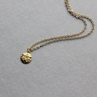 Delicate simple everyday tiny brass star fish disc pendant necklace chain