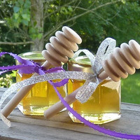 Wedding Favors, 100 Raw Wildflower Honey 2oz Jars, Raw Honey, Medicinal, Tennessee Wildflower Wood Dippers