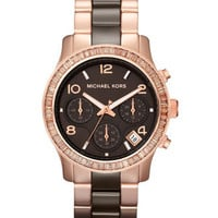 Michael Kors Mid-Size Espresso Ceramic and Rose Golden Stainless Steel Runway Chronograph Glitz Watch - Michael Kors
