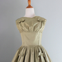 1950s Party Dress / 50s Suzy Perette Sage Satin Dress / Vintage Bow Dress