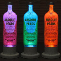 Absolut Pears Vodka Color Changing LED Remote Controlled Eco Friendly rgb LED Bottle Lamp/Bar Light / Intense Sparkle-Bodacious Bottles-